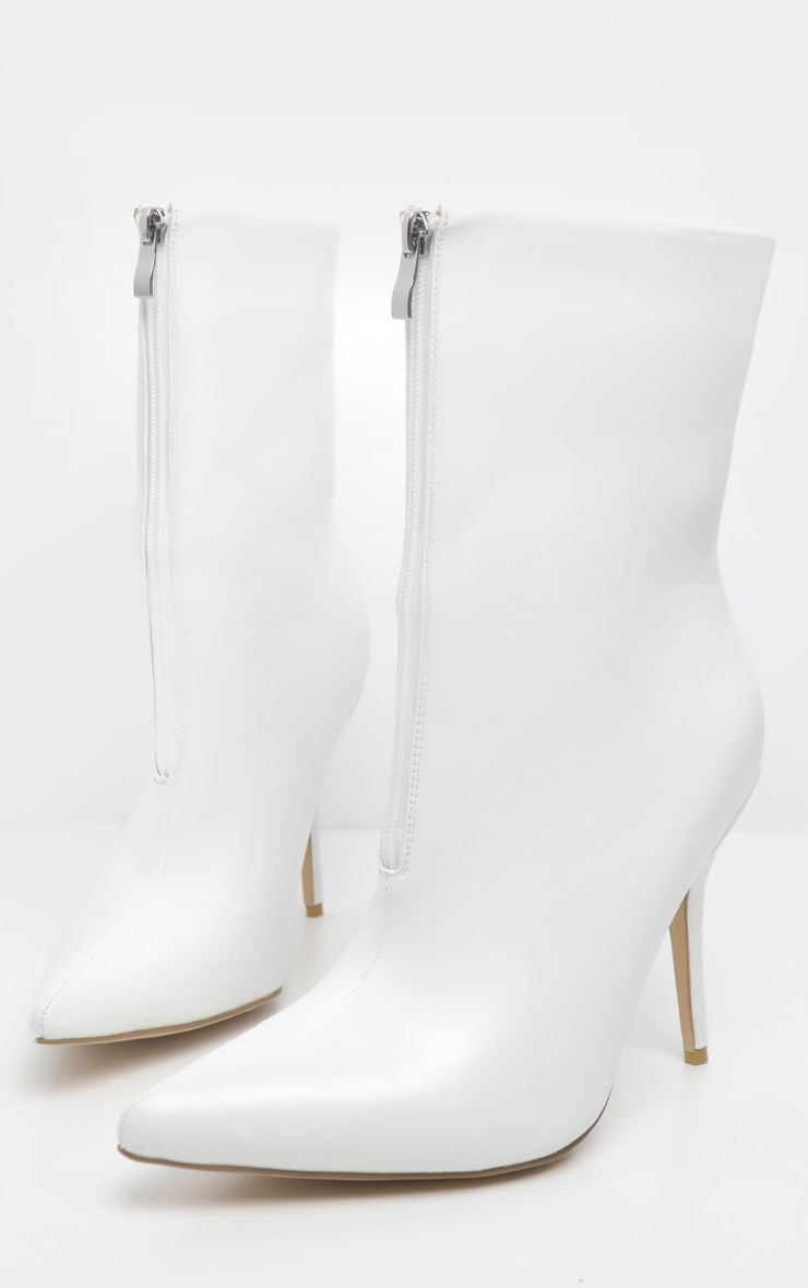 White Zip Front Ankle Boot 3