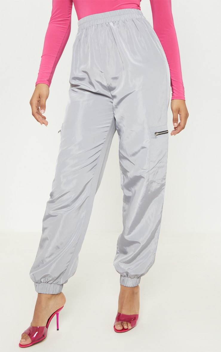 Tall Grey Zip Detail Shell Joggers 2