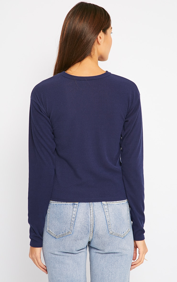 Basic Navy Premium Ribbed Long Sleeve Top 2