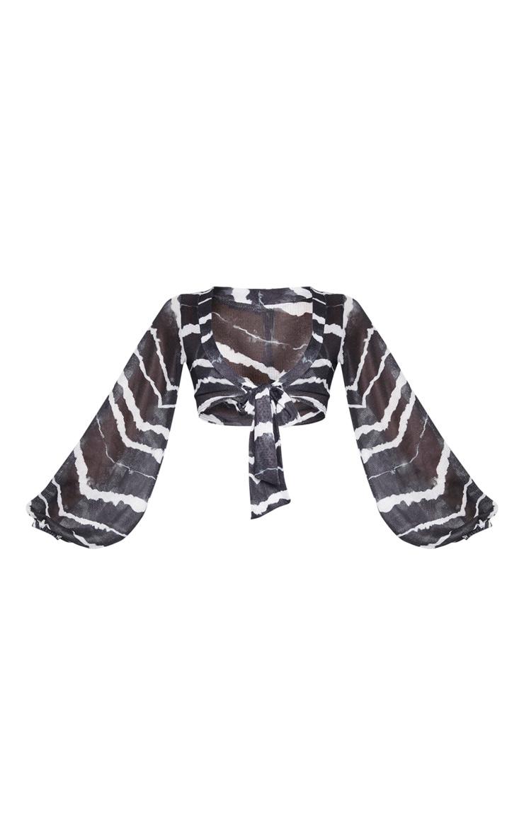Black Tie Dye Lightweight Knit Tie Front Top 3