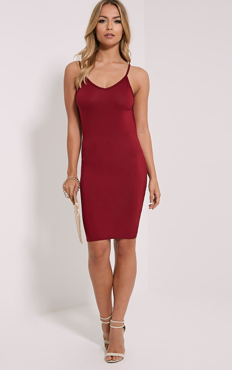 Natallia Burgundy Scoop Back Dress 3