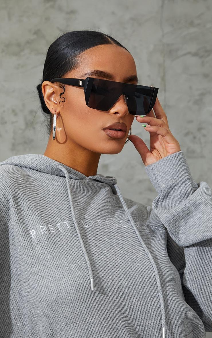 Black Flat Top Statement Sunglasses 1