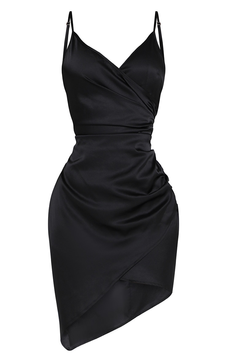 Shape Black Satin Wrap Dress 3