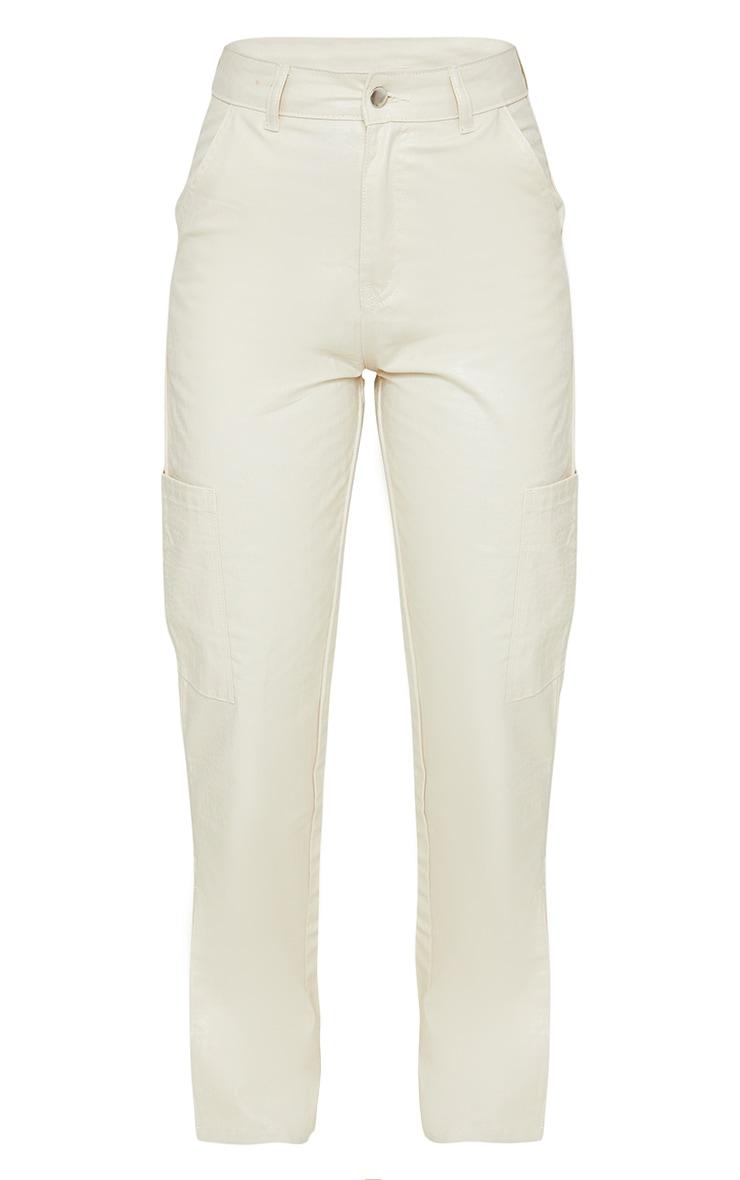 Sand Croc Coated Cargo Pocket Detail Split Hem Jeans 5