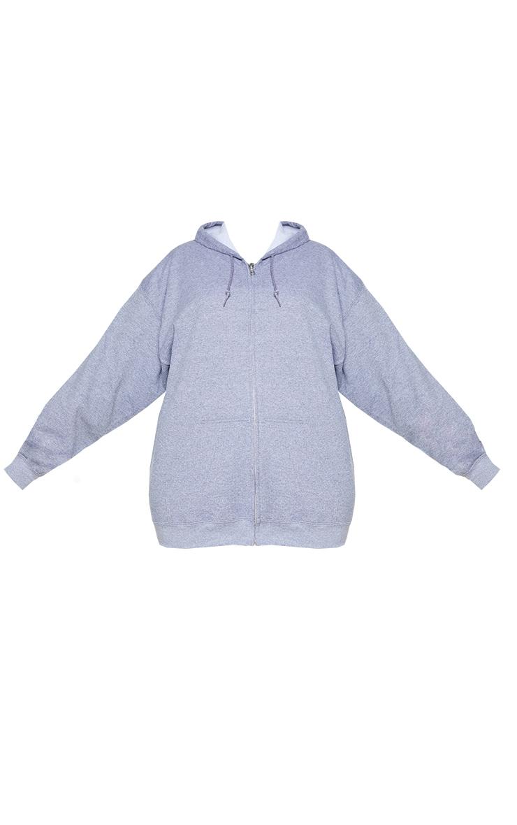 Plus Grey Fleece Zip Up Hoodie 5