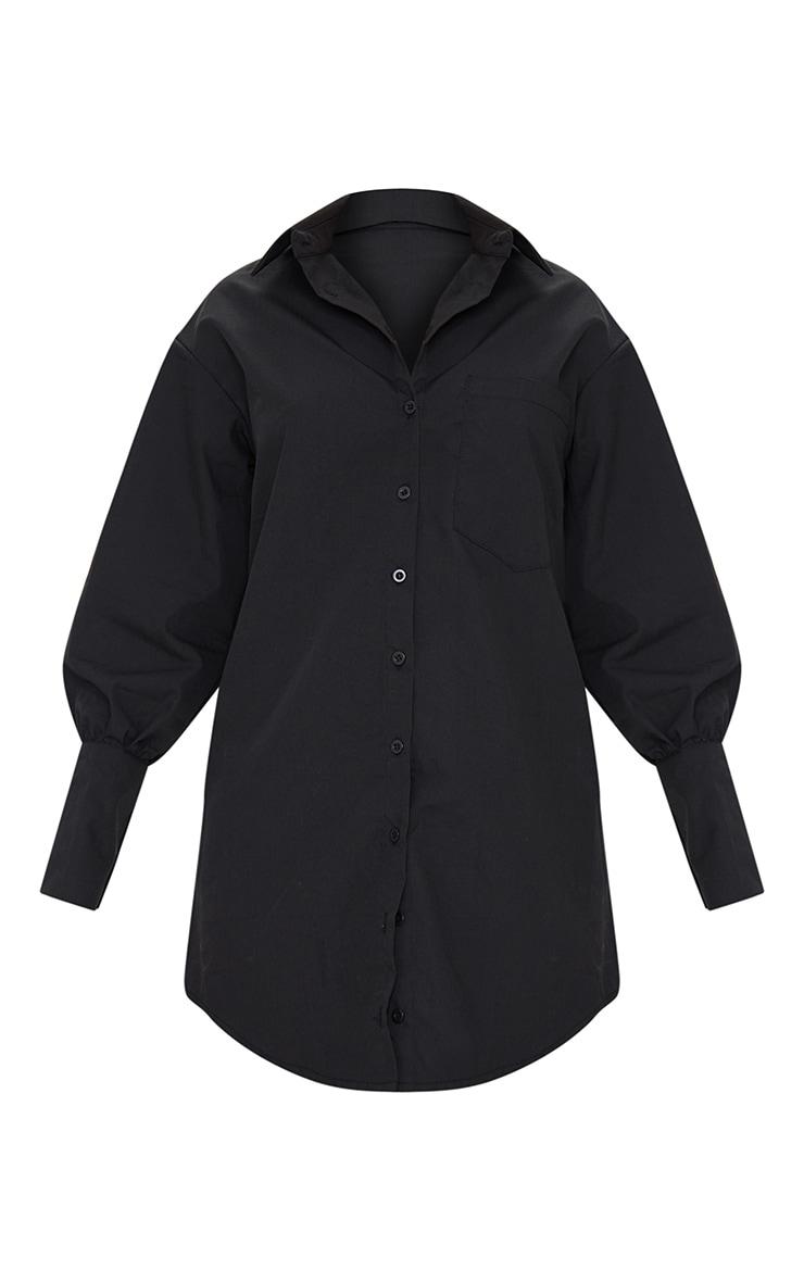 Petite Black Oversized Cuff Shirt Dress 4