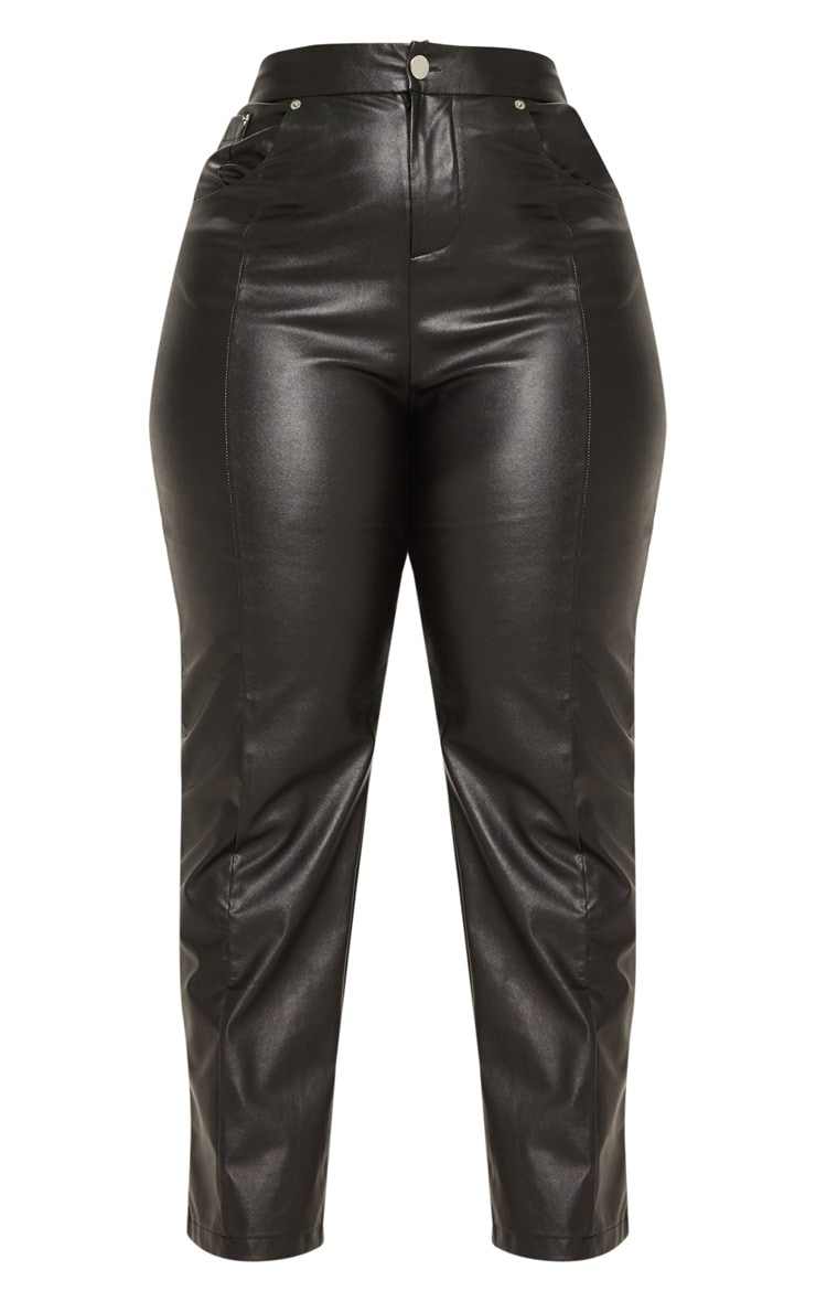 Plus Black Faux Leather Straight Leg Pants 3