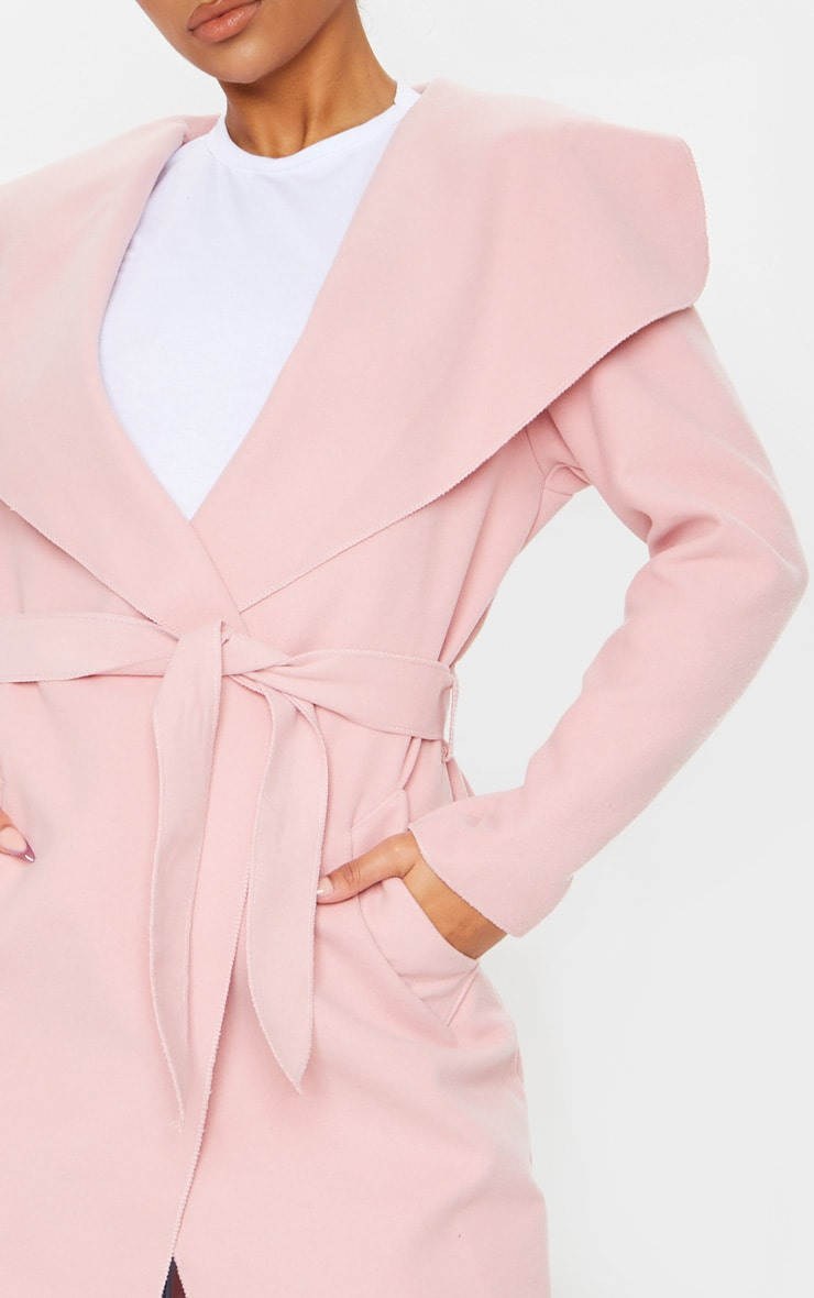 Veronica Dusty Pink Oversized Waterfall Belt Coat 4
