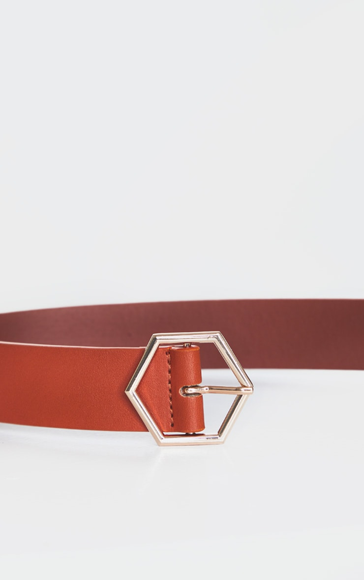Tan Basic Hexagon Buckle Belt 4
