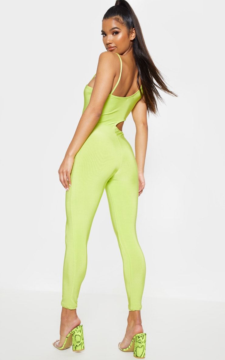 Neon Lime Slinky Waist Cut Out Detail Jumpsuit 2