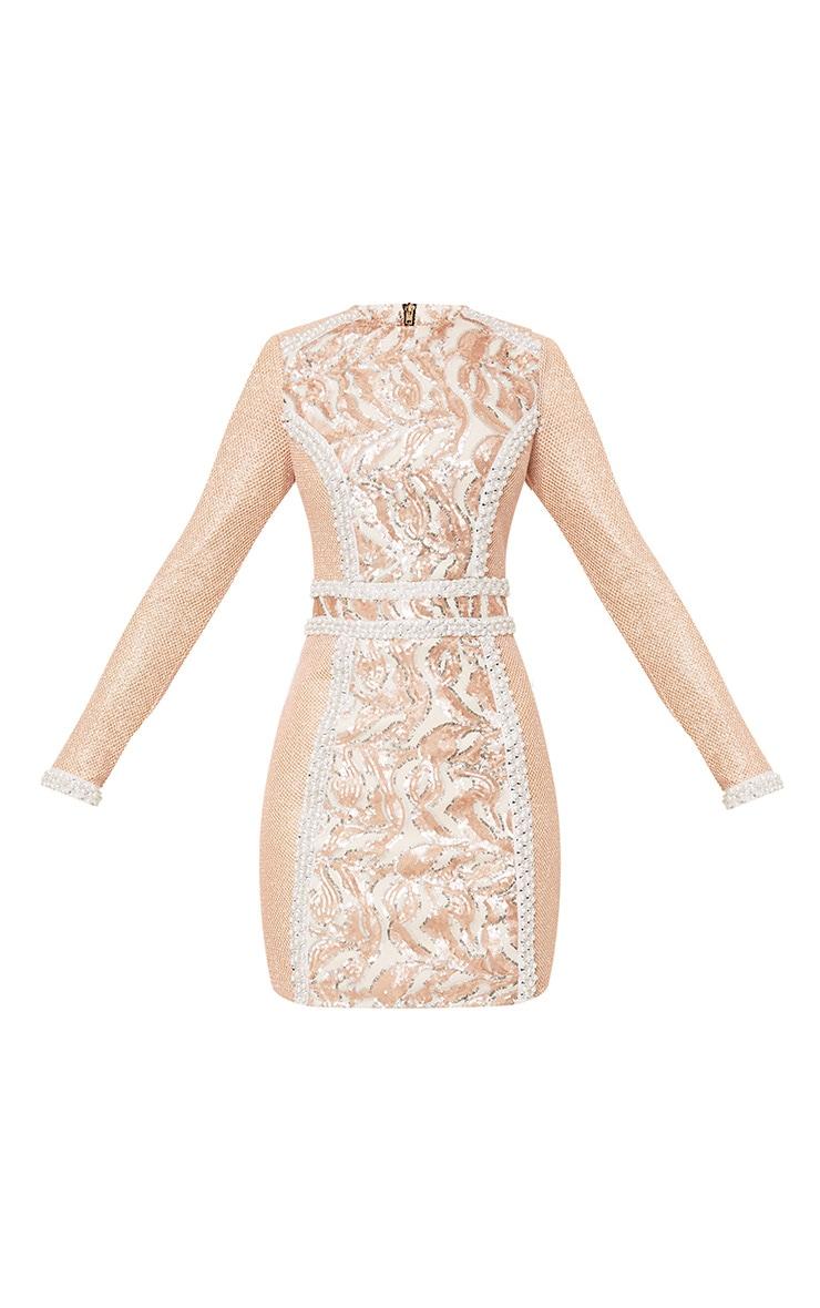 Selenia Rose Gold Premium Sequin Panelled Bodycon Dress 3