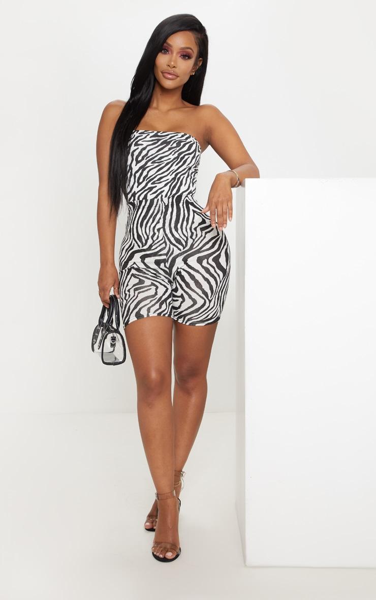 Shape White Zebra Print Slinky Bandeau Bodysuit  5