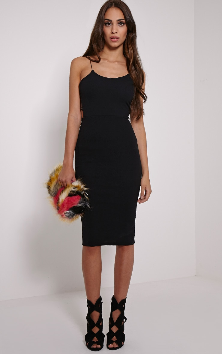 Tonia Black Lace Back Detail Midi Dress 4
