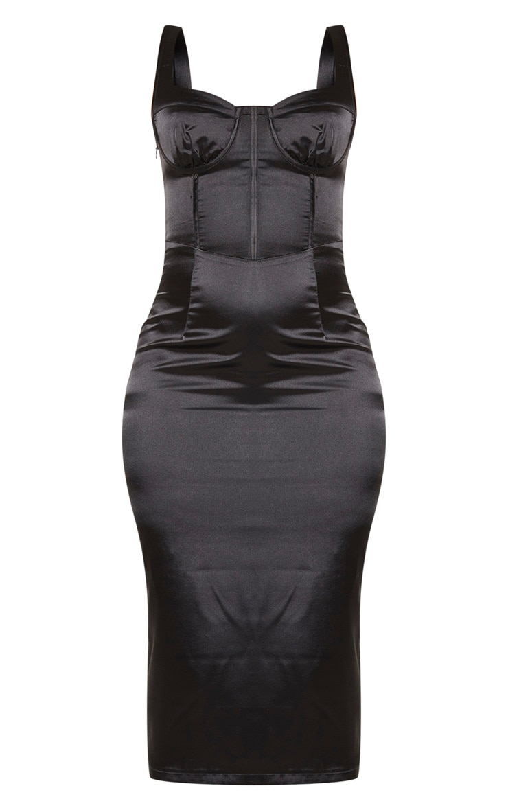 Black Satin Cup Detail Sleeveless Midi Dress 5