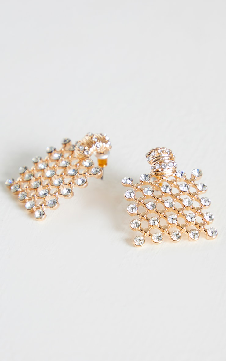 Gold Square Chain Mail Diamante Stud Earrings 2