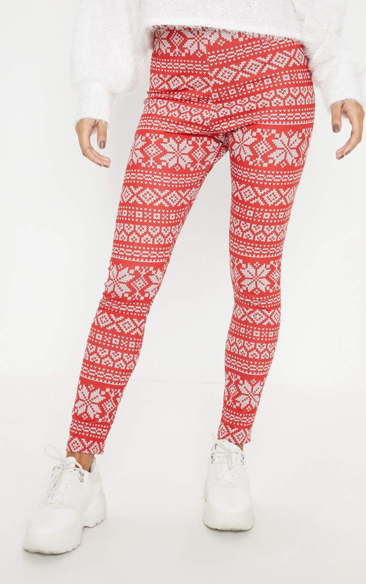 Red Fairisle Printed Legging 2