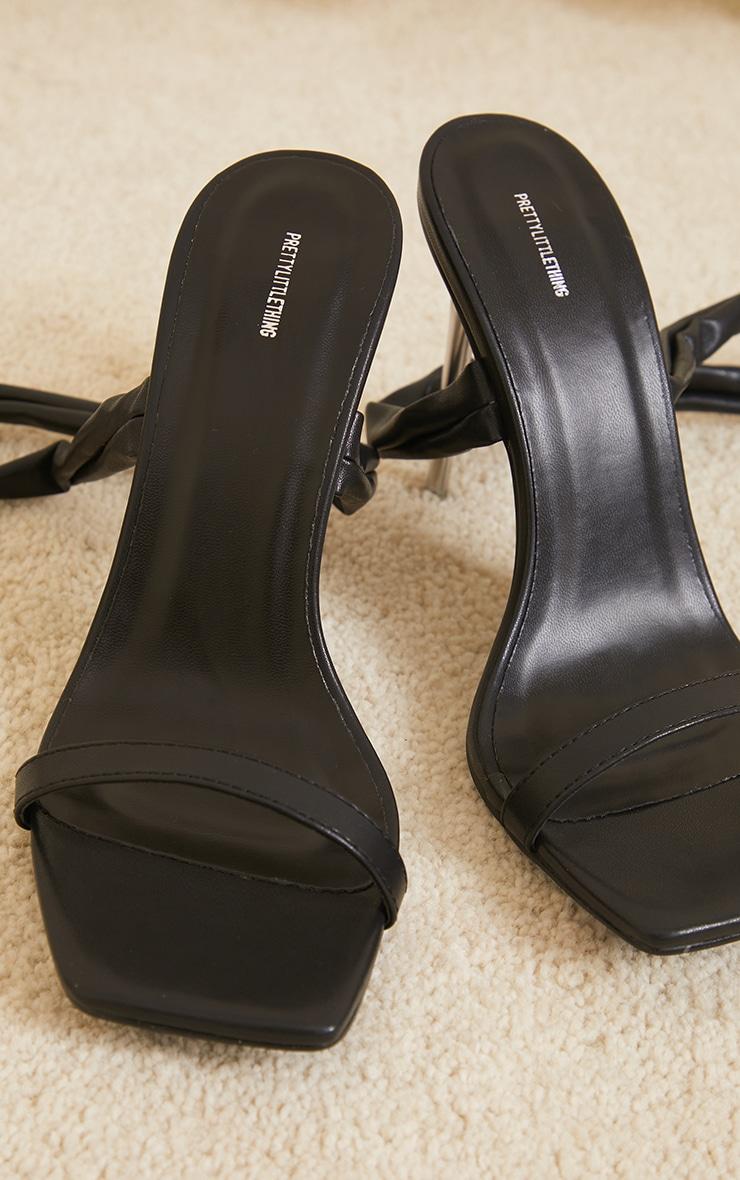 Black Pu Chunky Lace Up Clear High Heels 3