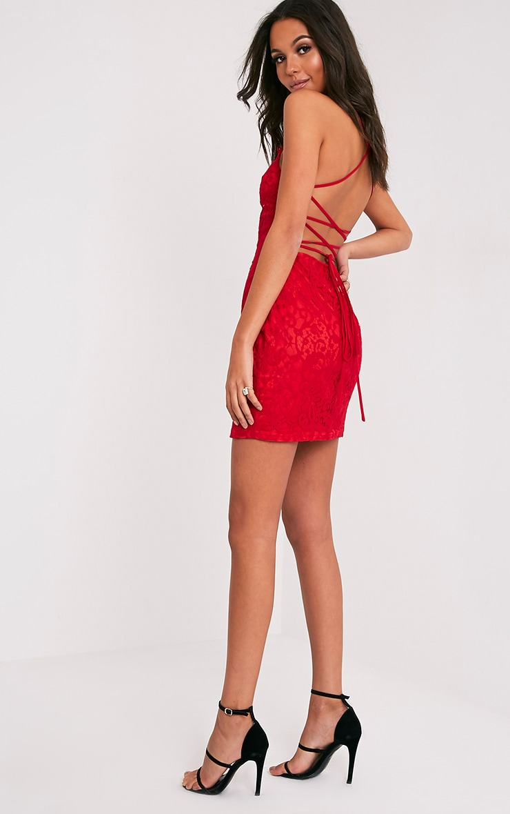Karissa Red Lace Up Back Lace Bodycon Dress 5