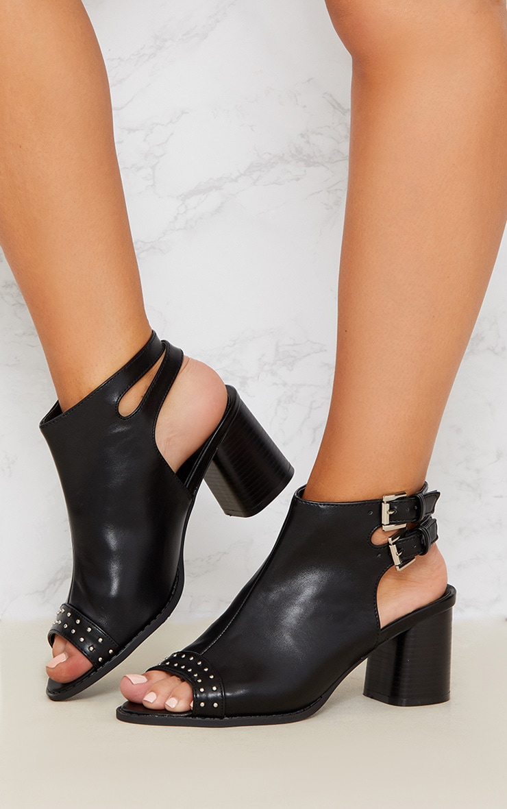 Black Buckle Cut Out Studded Ankle Boot 2
