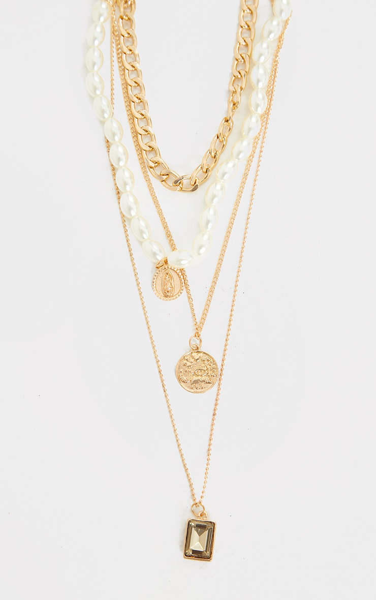 Gold Assorted Pendant Pearl Layering Necklace 3