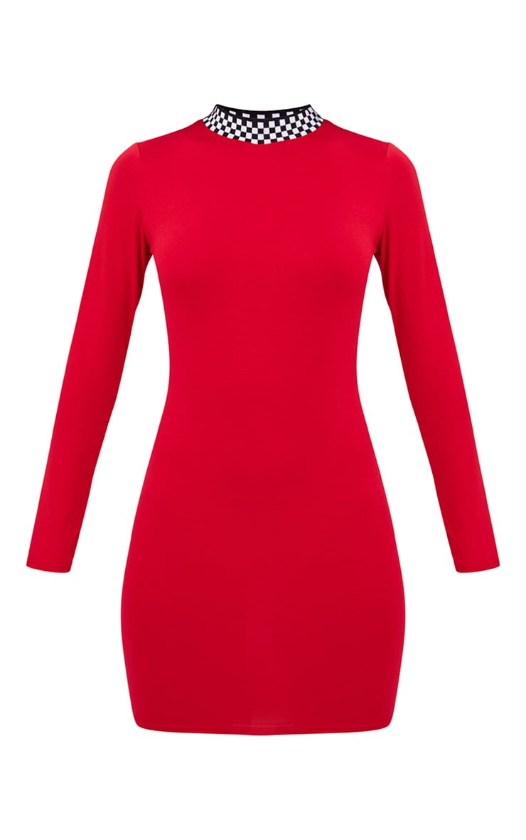 Red Motocross High Neck Dress 3