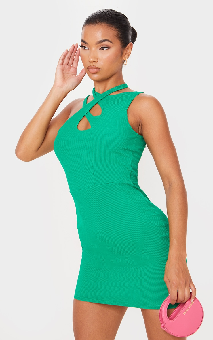Green  Ribbed Crossed Strap Detail Bodycon Dress 1