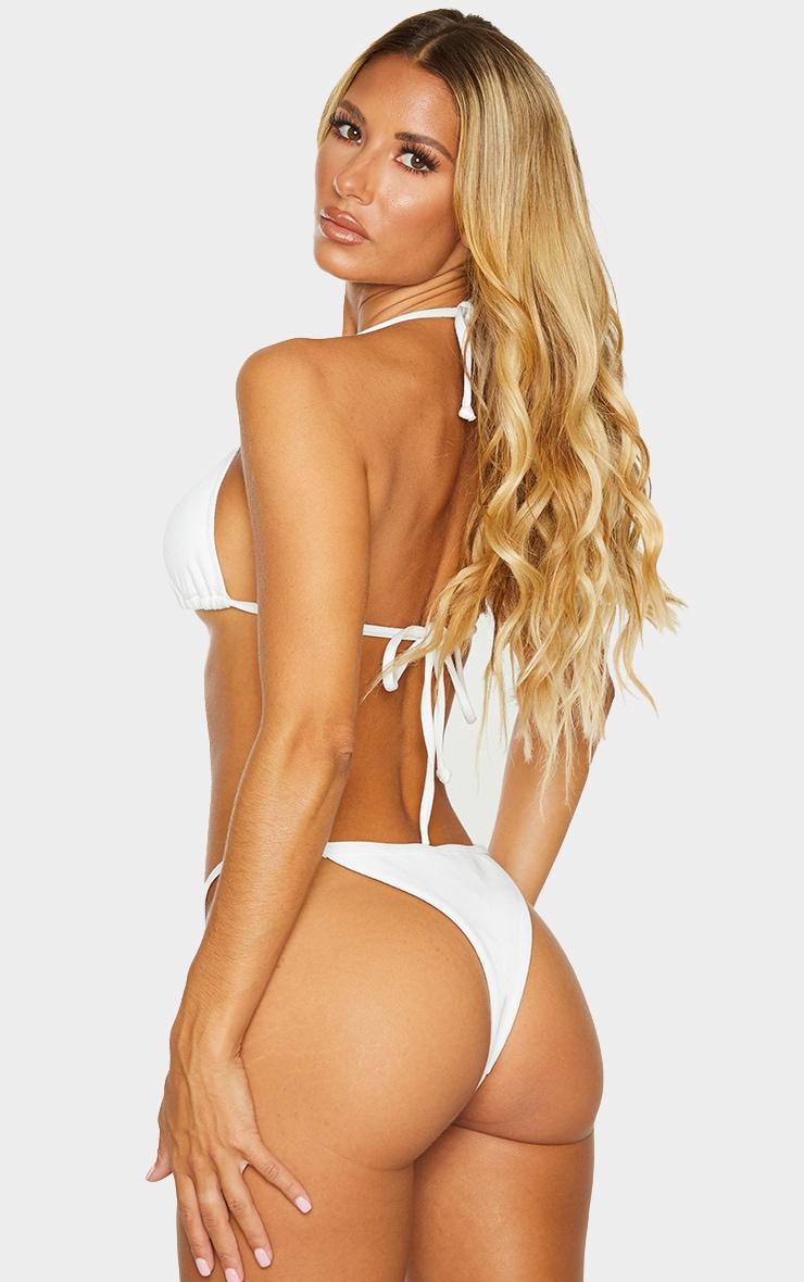 White Ribbed Padded Triangle Bikini Top 2
