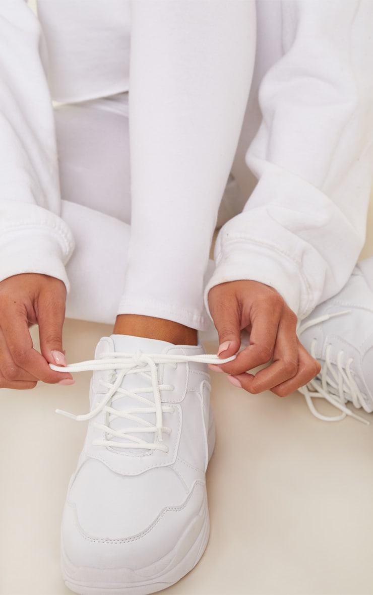 White Chunky Sole Lace Up Sneakers 2
