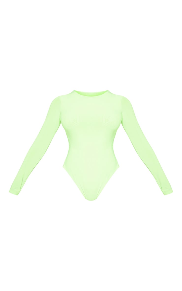 Tall Neon Lime Slinky Long Sleeve Bodysuit 3