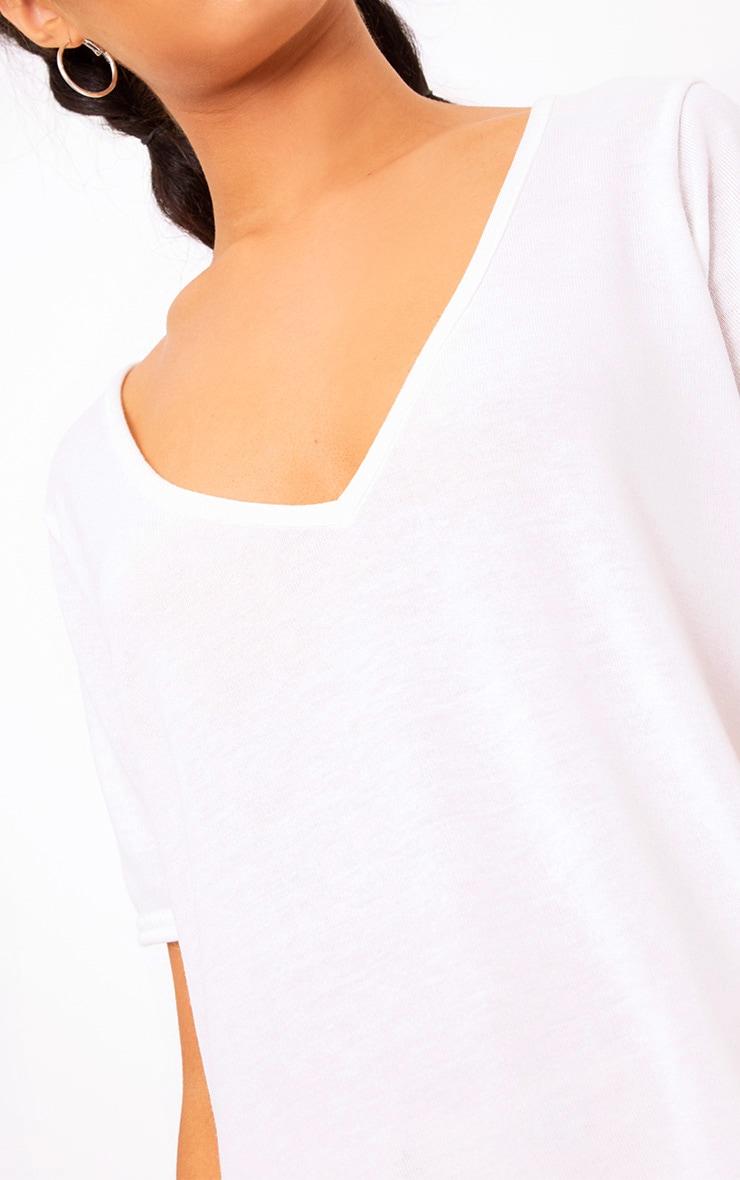 White Melange V Neck T Shirt 4