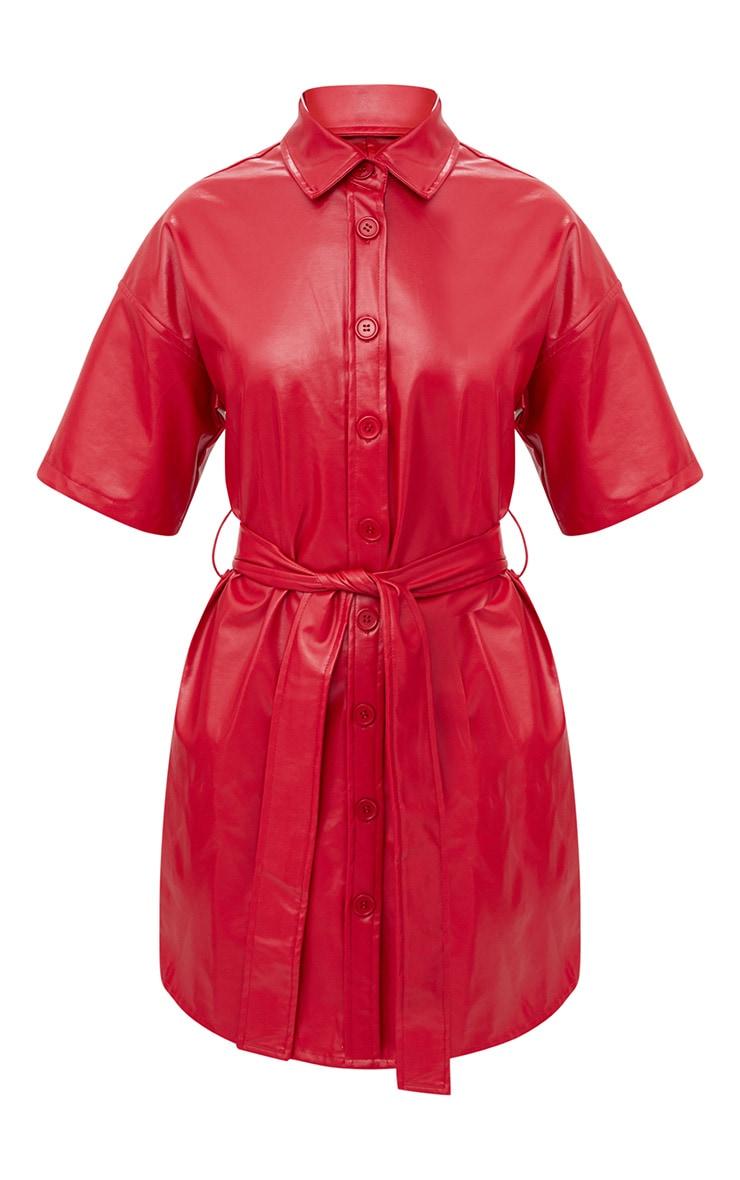 Red Button Up Tie Waist PU Shirt Dress 3