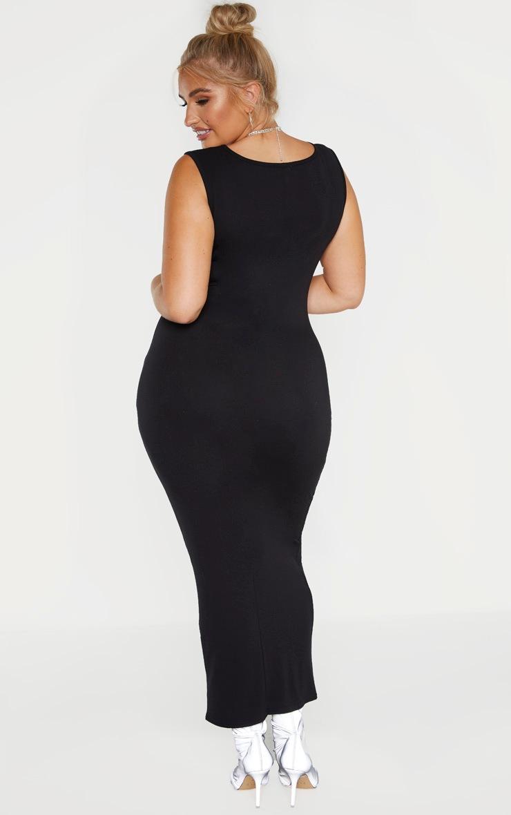Plus Black Jersey Scoop Neck Midaxi Dress  2