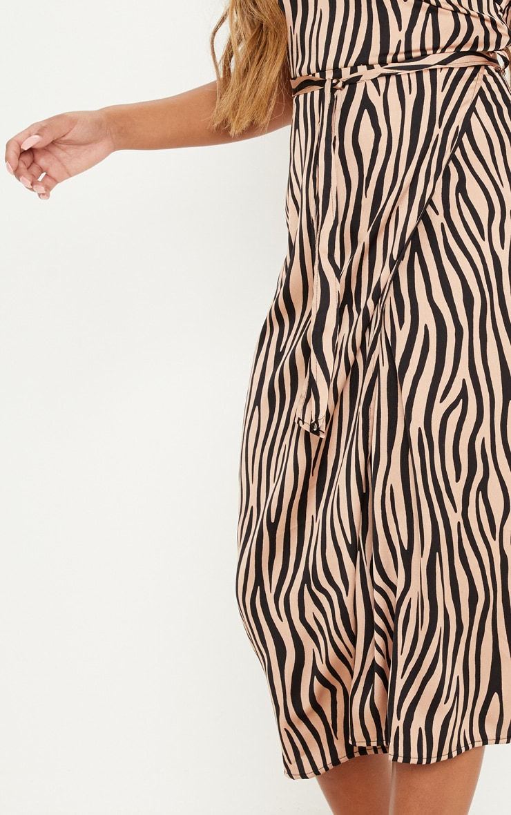 Tan Tiger Print Wrap Slip Dress 5