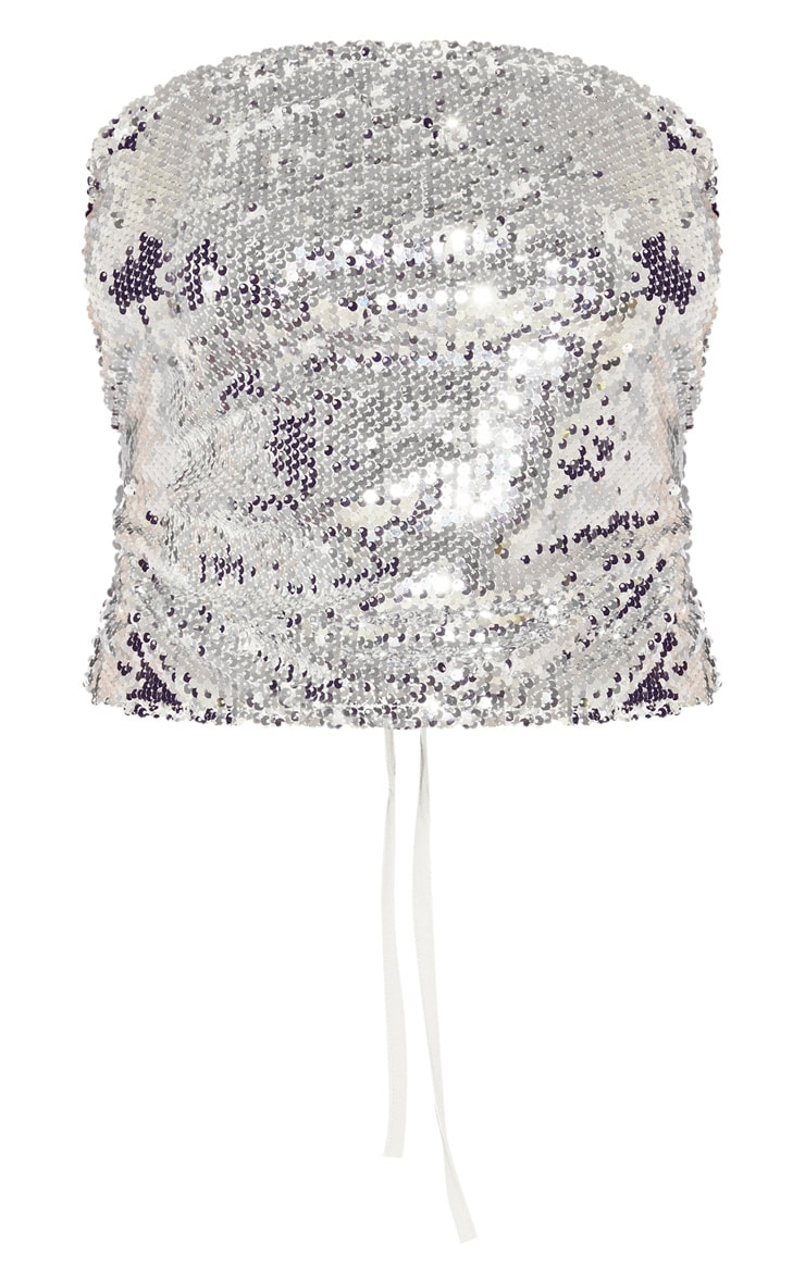 Silver Sequin Tie Back Crop Top  3