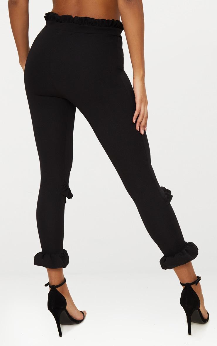 Black Double Ruffle Detail High Waisted Trouser 3