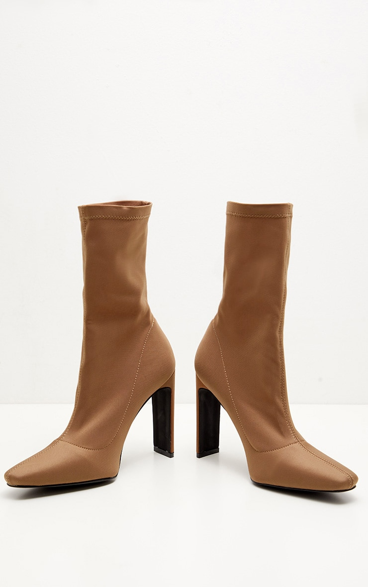 Taupe Lycra Flat Heel Ankle Boot 3
