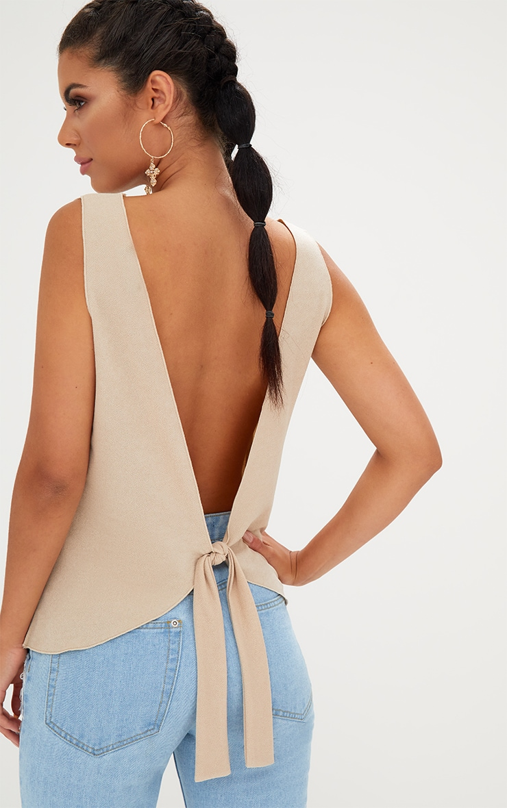 Nude Bow Back Sleeveless Top 1