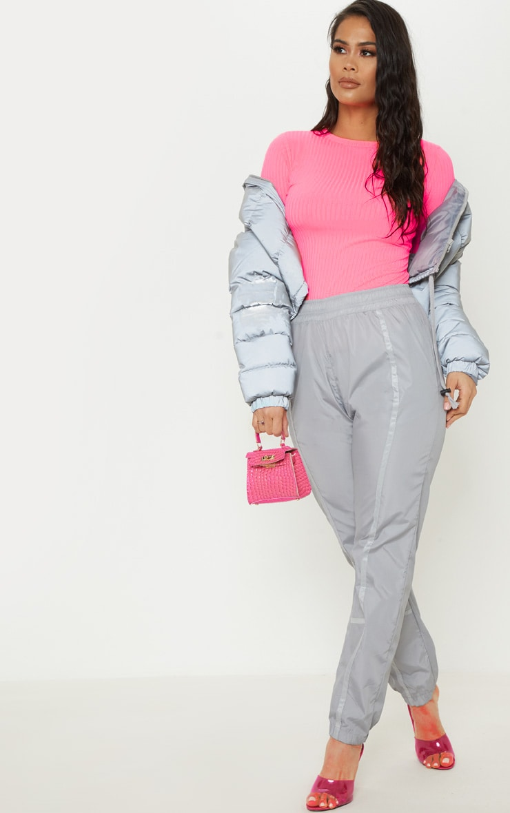 Neon Pink Rib Crew Neck Long Sleeve Top 4