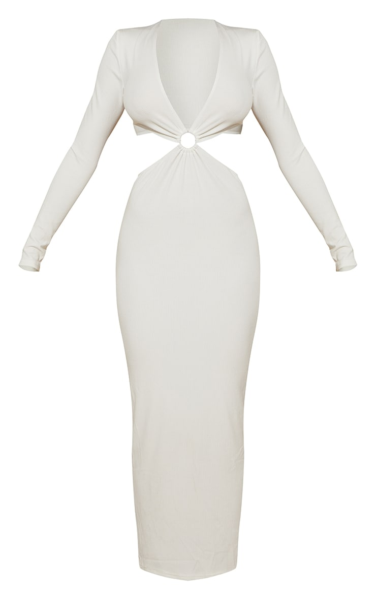 White Ribbed Long Sleeve Ring Cut Out Detail Midaxi Dress 5
