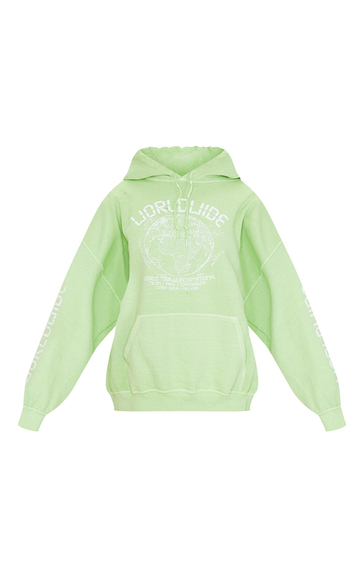 Lime Worldwide Slogan Oversized Hoodie 5