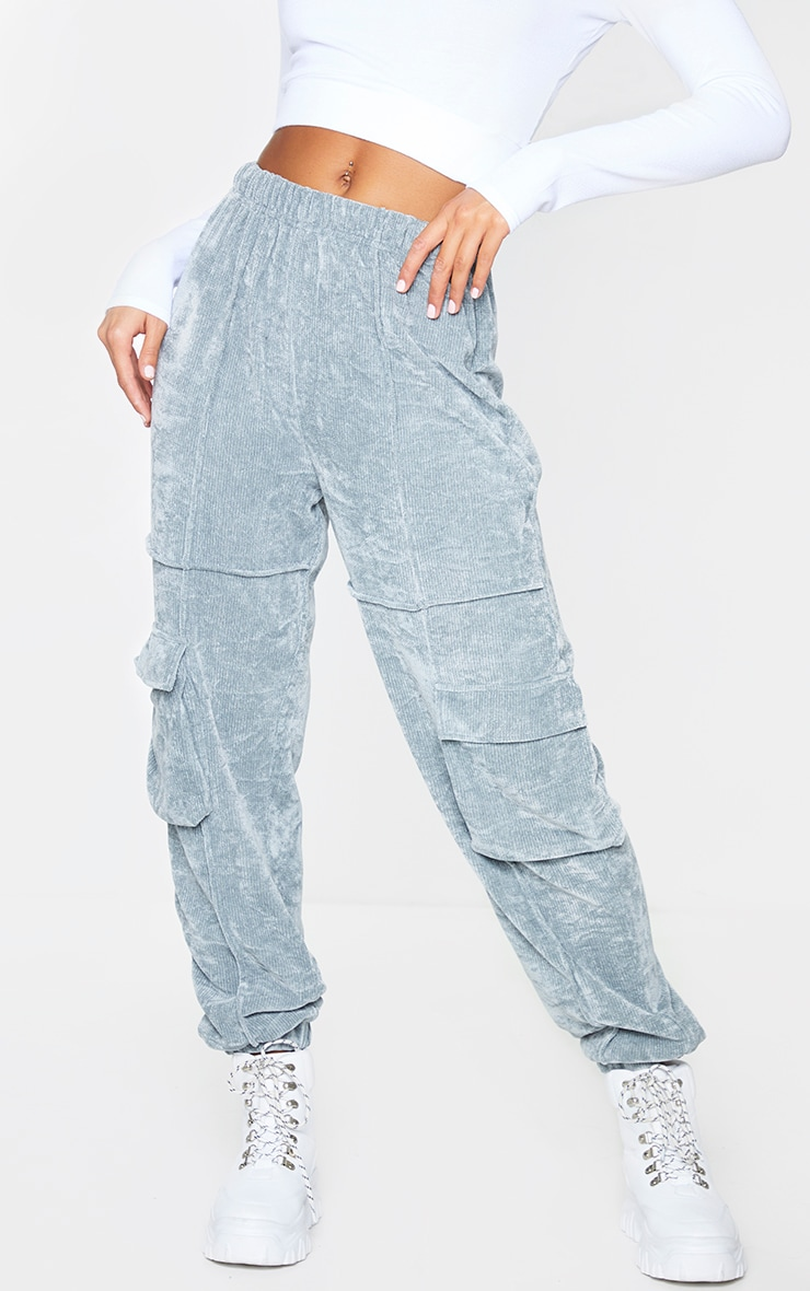 Light Grey Textured Velour Seam Detail Joggers 2