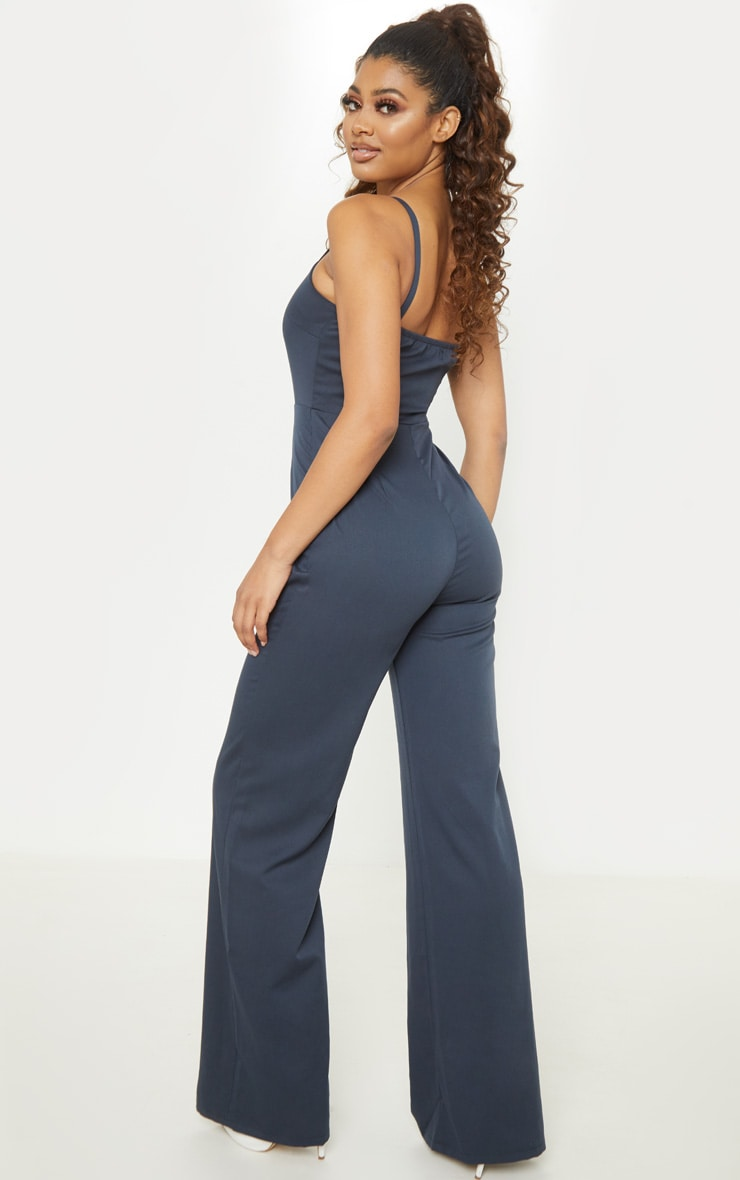 Tall Navy Strappy Button Front Wide Leg Jumpsuit 2