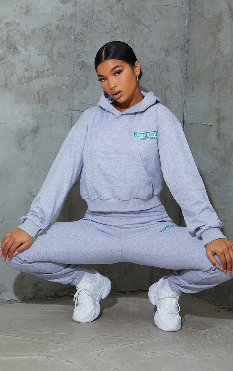 Grey Sports Embroidered Cropped Hoodie 3