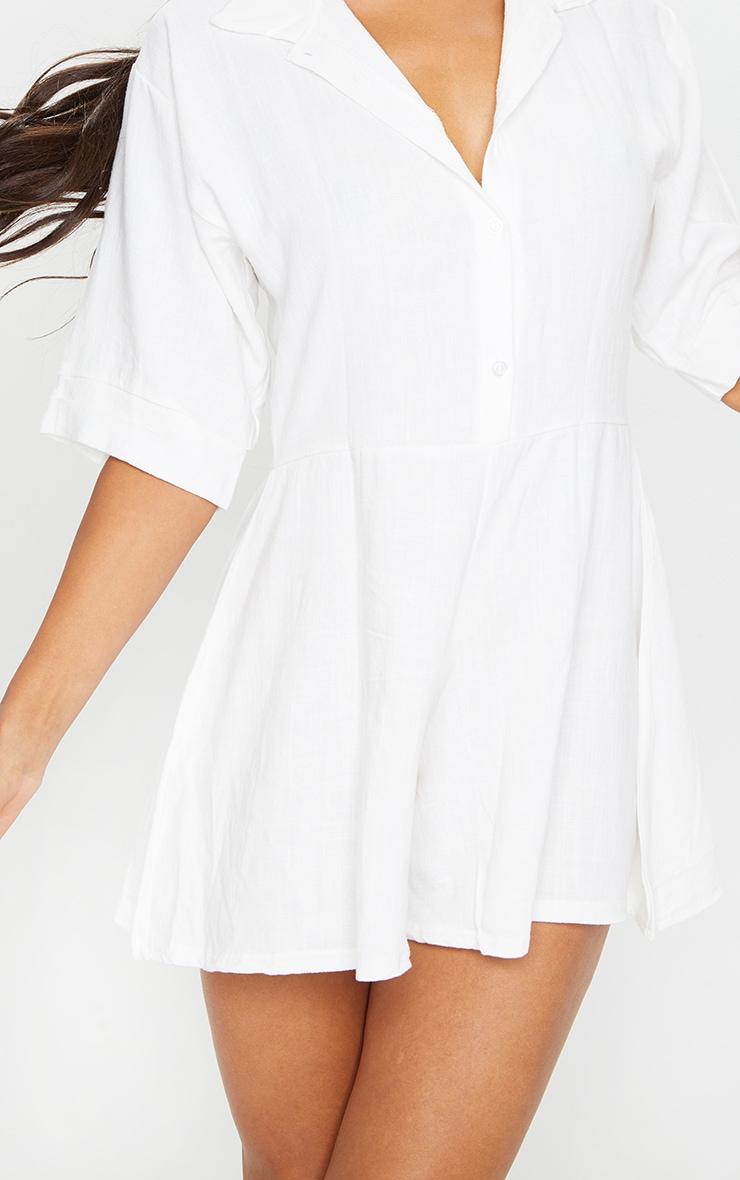 White Oversized Shirt Style Playsuit 4