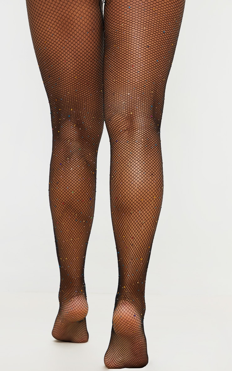 Multi Colour Diamante Fishnet Tights 3