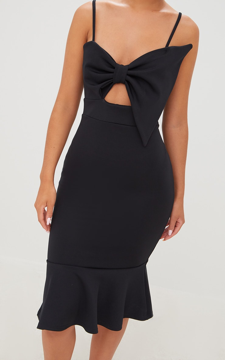 Black Strappy Bow Detail Fishtail Midi Dress 5