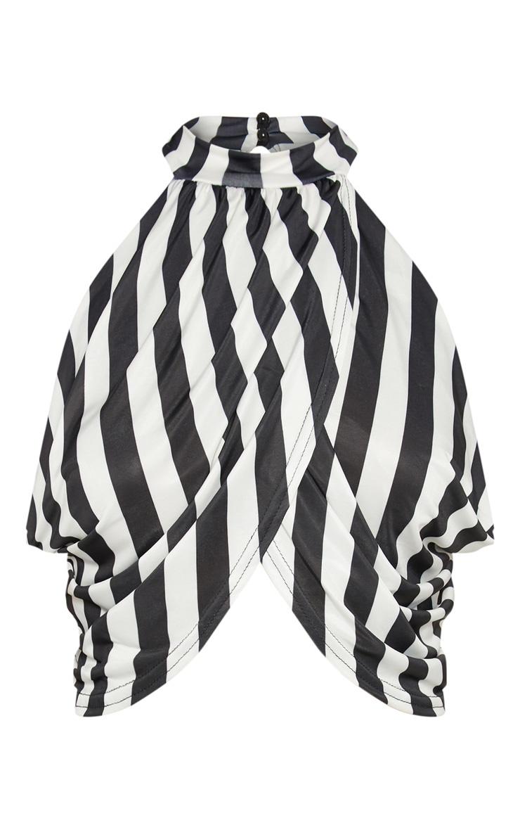 Mono Stripe Neck Wrap Top  3