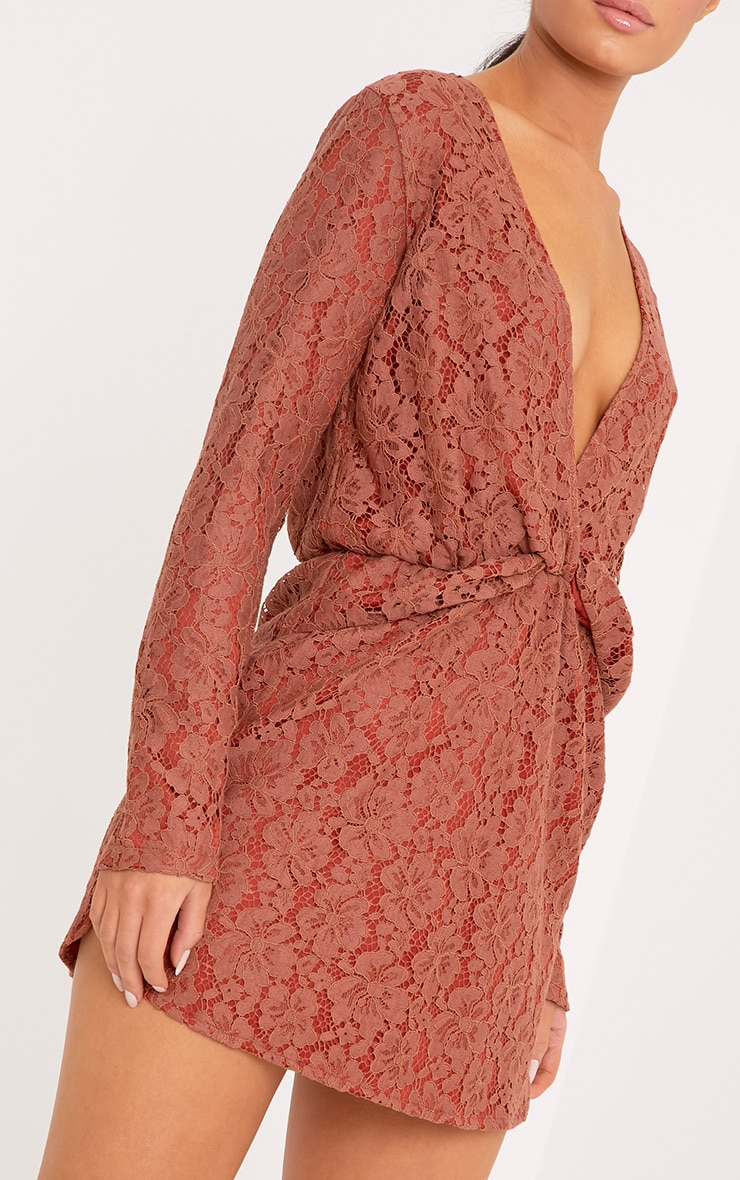 Dottie Tobacco Lace Twist Front Shift Dress 5