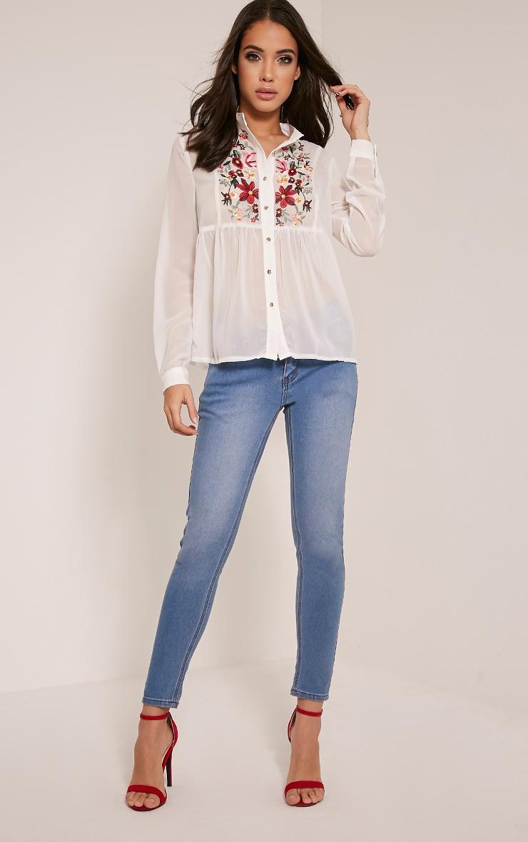 Liara White Embroidered Shirt 9