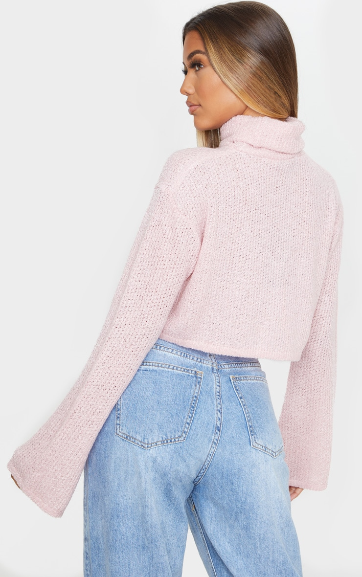 Blush Boucle Crop Knitted Roll Neck Sweater 2